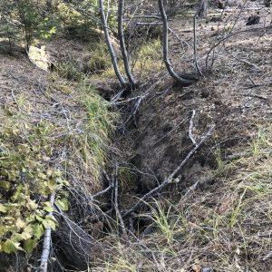 Eroded bank and US28 embankment on main fork Marlette Creek